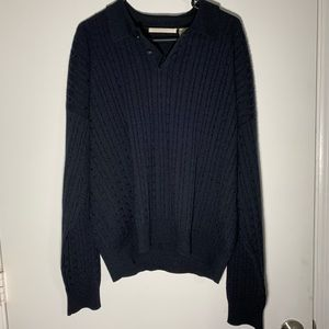 Vintage Perry Ellis Cable Knit Long Sleeve Polo